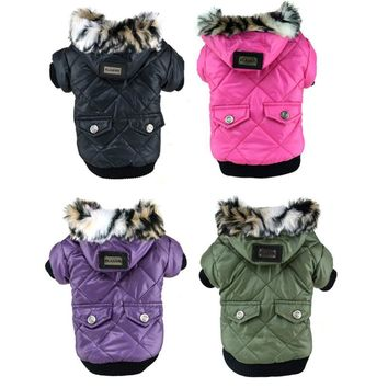 Cute Warm Coat  Jacket Faux Pockets Fur Trimmed Dog Hoodies Costume Large Puppy Dog Vest