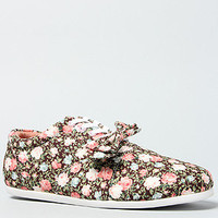 The Floral Drop Bow Sneaker in Brown Floral and White Sole