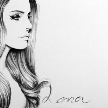 Lana del Rey Pencil Drawing Fine Art Portrait Print Hand Signed