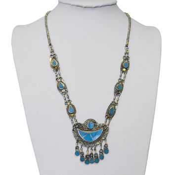 Vintage Turquoise Crescent Moon Necklace