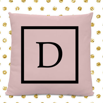 Initial Pillow - Letter Pillow - Pillow with Letter D - Monogrammed Pillow - Custom Throw Pillow - Pink Letter Pillow