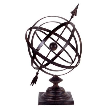 Antique Vintage Styled Armillary Deco In Iron, Brown
