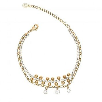 Gold Layered 03.171.0046.07 Fancy Bracelet, with White Crystal and White Cubic Zirconia, Polished Finish, Golden Tone