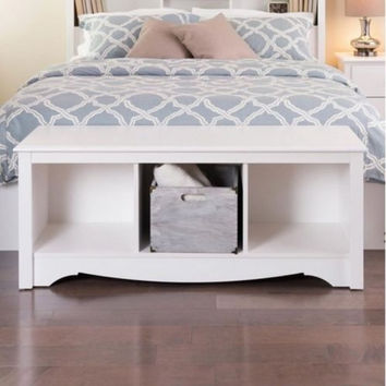 Contemporary Home Furniture Three Compartments White Cubbie Storage Bench Sturdy