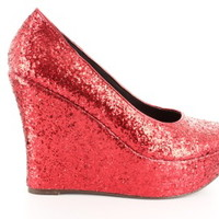 Red Glitter Wedges | - www.alonai.com - 19.95 $