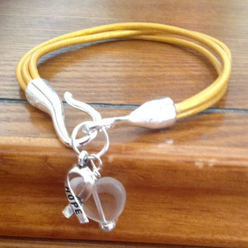 Gold Awareness Leather Bracelet-Metallic Leather-Childhood Cancer-Heart Charm-Awareness Ribbon Hope Charm-