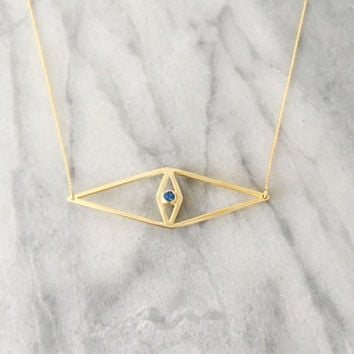 Blue Evil Eye Necklace, Gold Evil Eye Necklace, Dainty Gold Necklace, Geometric Necklace, Hamsa Hand Necklace, Kylie Jenner Evil Eye