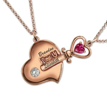 Customized Engraved Key to My Heart Birthstone Necklace Rose Gold Color Couple's Jewelry