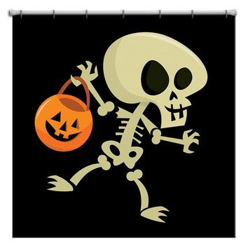 Skeleton Trick or Treating Halloween Shower Curtain