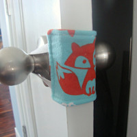 Sneaky Peek Fox Nursery Door Muffler, Nursery Door Silencer, Fox Baby Door Quieter, Baby Boy Fox Door Muffler