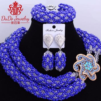 African Jewellery Sets for Women Nigerian African Beads Jwelry Set Big Design Dubai Royal Blue Necklace Set of Beads Fashionable