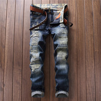 Ripped Holes Stylish Pants Slim Rinsed Denim Jeans [7417640195]