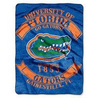 Florida Gators NCAA Royal Plush Raschel Blanket (Rebel Series) (60x80)