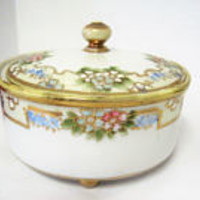 Powder Trinket Jar, Signed Nippon, Gilded Edges, Hand Painted, Porcelain Gold Footed Jar