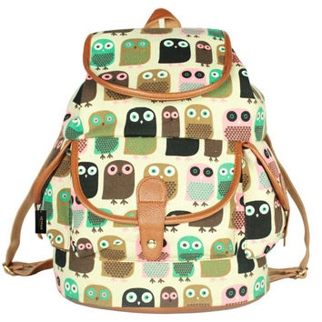 Women Canvas Print School Backpack College Bag Travel Daypack