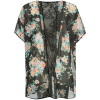Full Tilt Floral Print Girls Kimono Black Combo  In Sizes