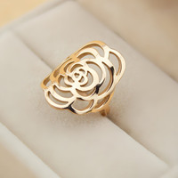 hollow out flower ring gold gift-115
