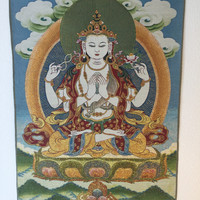 Avalokiteshvara with a Green Halo on Blue Background
