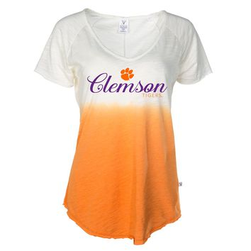 Official NCAA Venley Clemson University Tigers TIGER RAG! Women's Ombre Tie Dye V-Neck T-Shirt