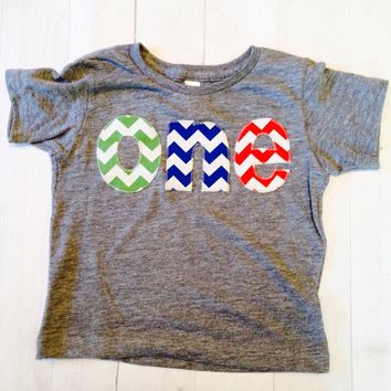 Green blue red Birthday shirt one for 1st Birthday chevron Number for any Birthday- pick your colors- grass green royal blue and red vintage