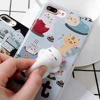 Squishy Lovely Cat Phone Case For iPhone 6 6s 7 Plus Case Anti-stress Claw Kitty Gel Soft Silicone Cover For iPhone 5 S SE Case