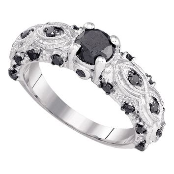 10kt White Gold Womens Round Black Color Enhanced Diamond Solitaire Bridal Wedding Engagement Ring 1.00 Cttw