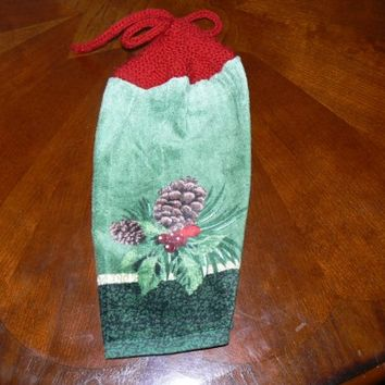 Perfect Pine Cone Hanging Kitchen Towel With Hand Knit Topper and Ties