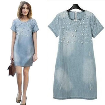 S-5xl 2016 Women Femininos A-line Denim Plus Size Dress/o-neck Pearl Short Sleeve Loose Casual Jeans Natural Dress 3xl,4xl,5xl