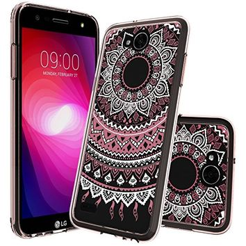 LG X Charge Case Clear,LG X Power 2 Case ,LG Fiesta LTE Case,LG K10 Power Case, LG M320F Case With HD Screen Protector Mandala Flower Women Girl Phone Cover Clear Case For LG LV7 CH Rose Gold