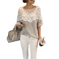 Coromose Women Lace Shoulder Hollow Short Sleeve T-shirt Blouse Tops