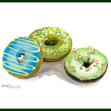 Sprinkled mini donut Vanilla dessert Baked sweet Watercolor Fine Art Print Food Art Still Life Home Decor Kitchen art Illustration