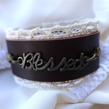 Leather and Lace Cuff - Blessed