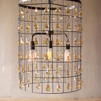 Large Cylinder Pendant Light With Amber Gems