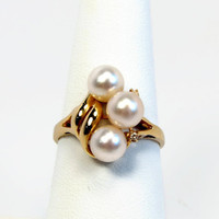 14K Gold Pearl Ring, Diamond Accents, Size 7, Estate Jewelry, Yellow Gold, Vintage Ring, Cocktail Ring, June Birth Stone, Vintage Jewelry