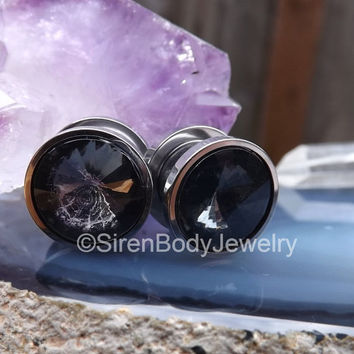 Black gemstone plugs earrings pair silver screw fit 316l stainless steel gauges 00g 2g pair round black diamond gemstones stone gauges plug
