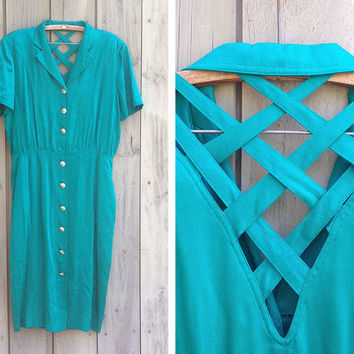 Vintage dress | 1990s teal open back dress