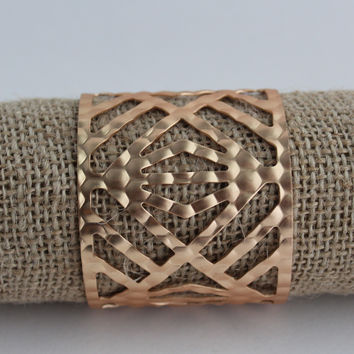 High Shine Triangle Cutout Cuff Bracelet-Rose gold
