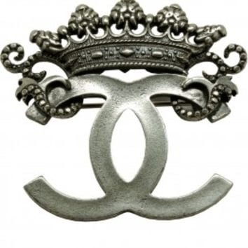 "Vintage Chanel - Silver Overlay Large Crown ""CC"" Brooch - at - London Jewelers"