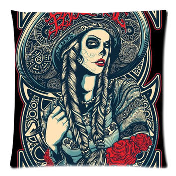 Cotton Linen Sugar Skull Custom Cushion Cover Decoractive Pillow Cover Throw Pillow Case kids Gift 45X45CM