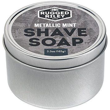 Rugged Riley All Natural Men's Metallic Mint Shave Soap.