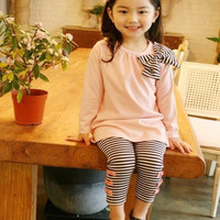 Lovely Children Clothing Girls Long Sleeve Shirts Striped Leggings Pajama Suit