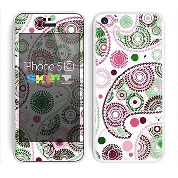 The Pink & Green Floral Paisley Skin for the Apple iPhone 5c