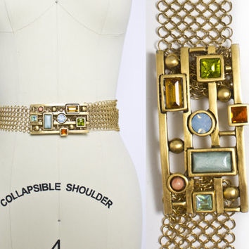 Vintage 1980s Belt - Judith Leiber Gold Tone Chain Mail Stone Jewel Buckle Corset Designer - OSFM