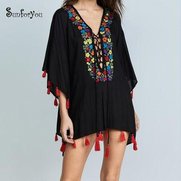 Black Embroider Beach Cover up Tassel Tunic for Beach Pareo Playa Sarong Swimsuit Women Plus size Swimwear Cover up 2018 dress