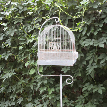 Vintage Deco Hendryx Metal Bird Cage and Iron Stand Rustic Chippy White Complete
