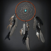 Large Brown and Black Dream Catcher with Assorted Chinchilla, Spotted, and Black Feathers and Turquoise Chunk Stone