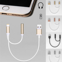 NEW 2in1 For Lightning iPhone 7 Plus to 3.5mm Earphone HeadPhone Audio Cable Jack + USB For Charging Converter Charger Adapter