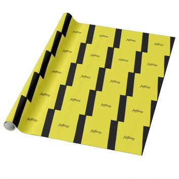 Yellow and Black Striped Wrapping Paper Customize
