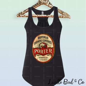 Buffalo Brewery Vintage Label Women's Graphic Print Racerback Tank