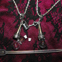 The Eternal Blood Bond Necklace Set - His & Hers self fill vials - Blood Droplet jewelry - glass w/ silver plated metal